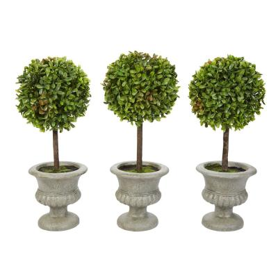 12.5 in. Faux Boxwood Topiary Arrangement with Decorative Urn (Set of 3)