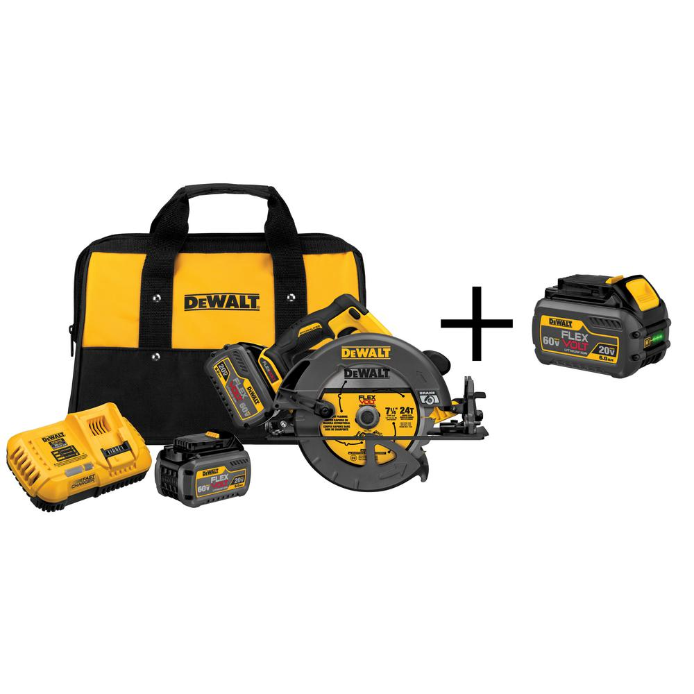 DEWALT FLEXVOLT 60-Volt MAX Lithium-Ion Cordless Brushless 7-1/4 in. Circular Saw with (2) Batteries 2Ah and Free Battery 2Ah