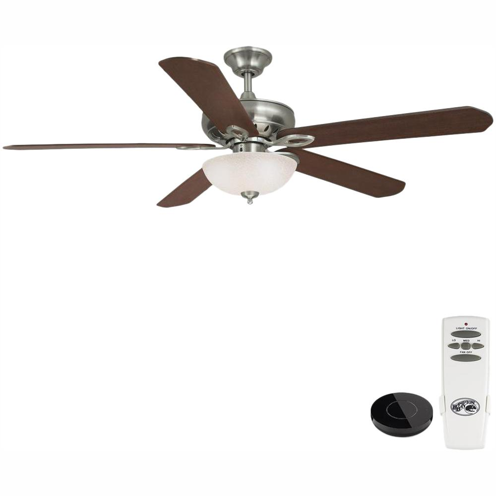 Hampton Bay Asbury 60 in. LED Brushed Nickel Ceiling Fan with Light Kit Works with Google Assistant and Alexa