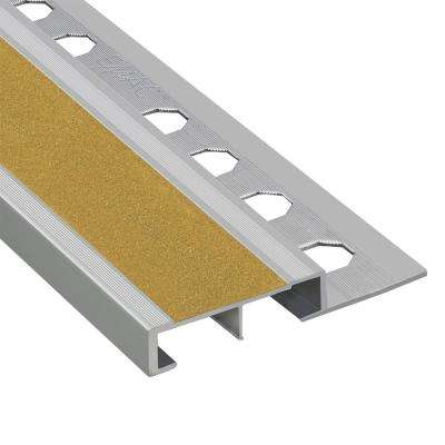 Novopeldano Safety Plus Matt Silver-Yellow 1/2 in. x 98-1/2 in. Aluminum Tile Edging Trim