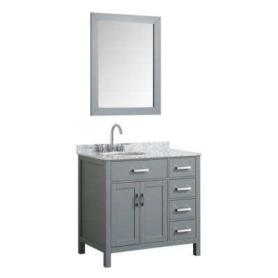 Hampton 37 in. Bath Vanity in Gray with Marble Vanity Top in Carrara White with White Basin and Mirror
