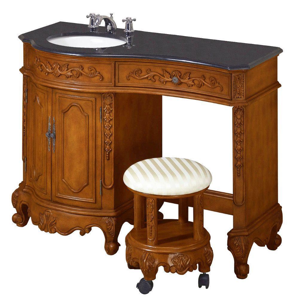 Home Decorators Collection Winslow 35 in. H x 48 in. W Vanity in Antique Oak with Black Granite Vanity Top in Antique Oak