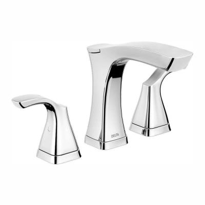 Tesla 8 in. Widespread 2-Handle Bathroom Faucet with Metal Drain Assembly in Chrome