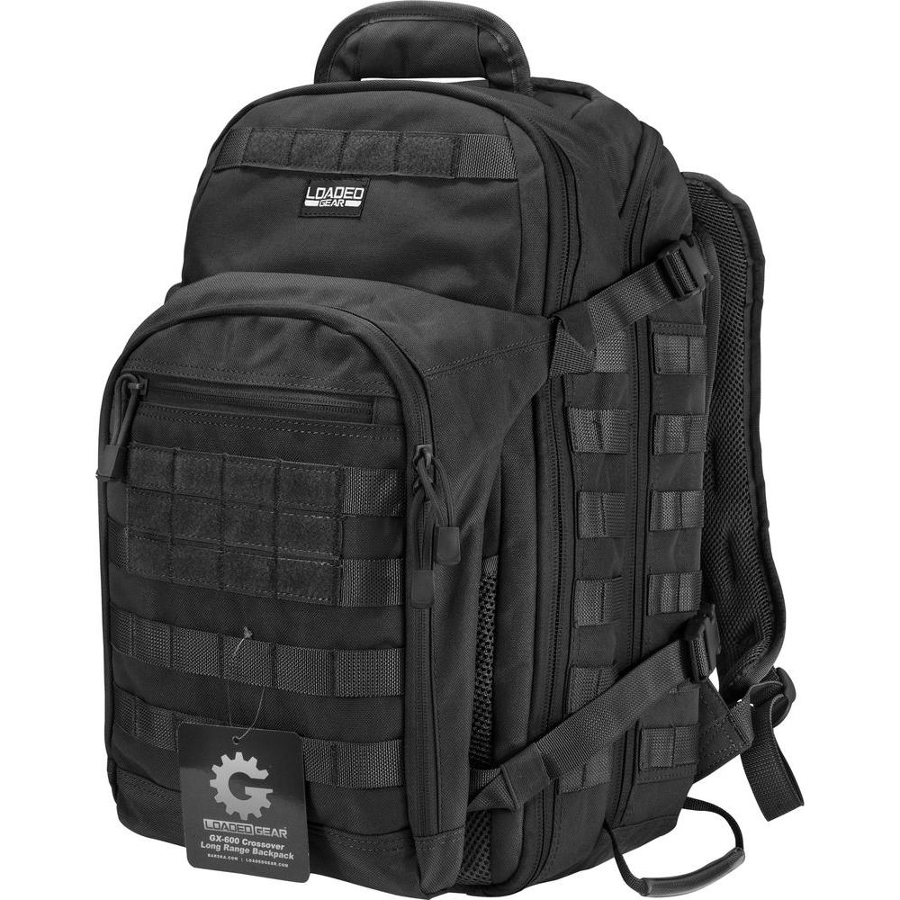 Loaded Gear GX-600 Large 19.69 in. Black Ballistic Nylon Crossover Backpack