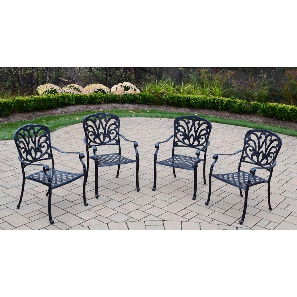 Oakland Living Hampton Cast Aluminum Stackable Patio Dining Chair (4 Pack)