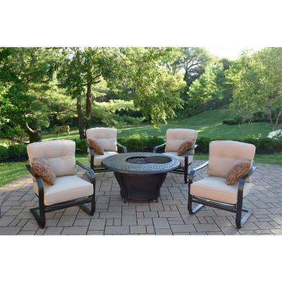 Caledonia Round 6-Piece Aluminum Patio Fire Pit Conversation Set with Oatmeal Cushions