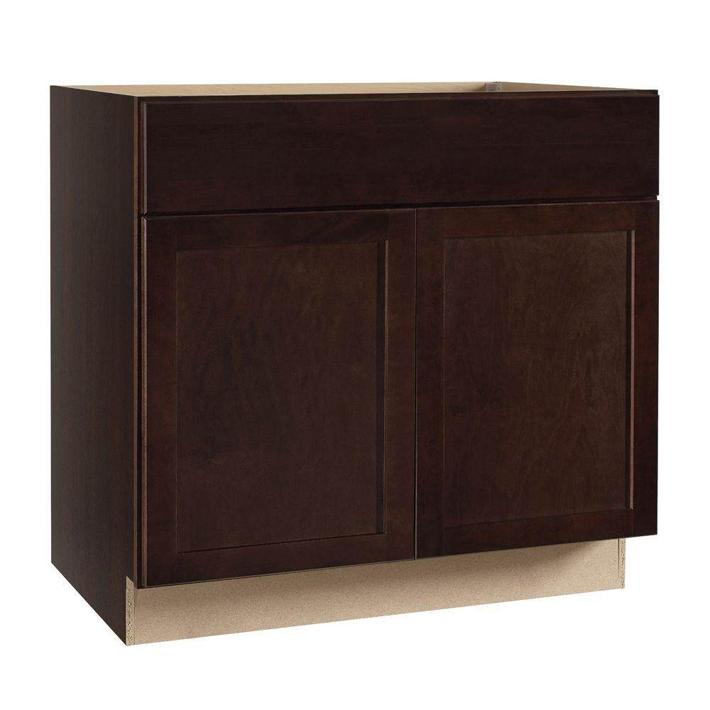Kitchen Cabinet Sink Base: Hampton Bay Shaker Assembled 36x34.5x24 In. Sink Base