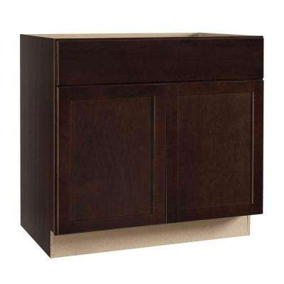 Shaker Assembled 36x34.5x24 in. Sink Base Kitchen Cabinet in Java