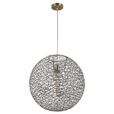 Orbweave 1-Light 31 in. Brass Indoor Elongated Pendant
