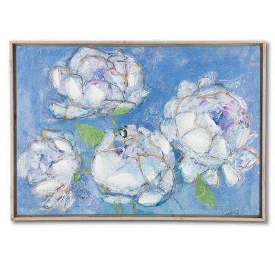 White Peonies with Blue Background by Unknown Author Framed Canvas Wall Art
