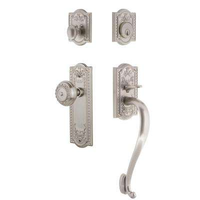Meadows Plate 2-3/4 in. Backset Satin Nickel S Grip Entry Set Meadows Knob