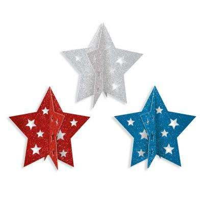 5 in. 3D Patriotic Star Centerpieces (3-Count, 6-Pack)