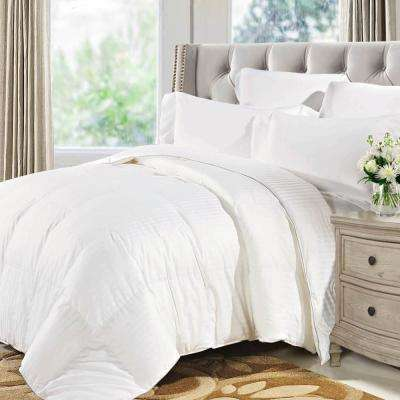 White Striped Twin Size Luxurious Down Alternative Comforter