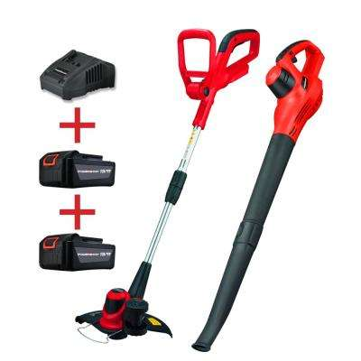 20-Volt Lithium-Ion Cordless String Trimmer and Blower Combo Kit 2 Tools Include (2 Battery and 1 Charger)
