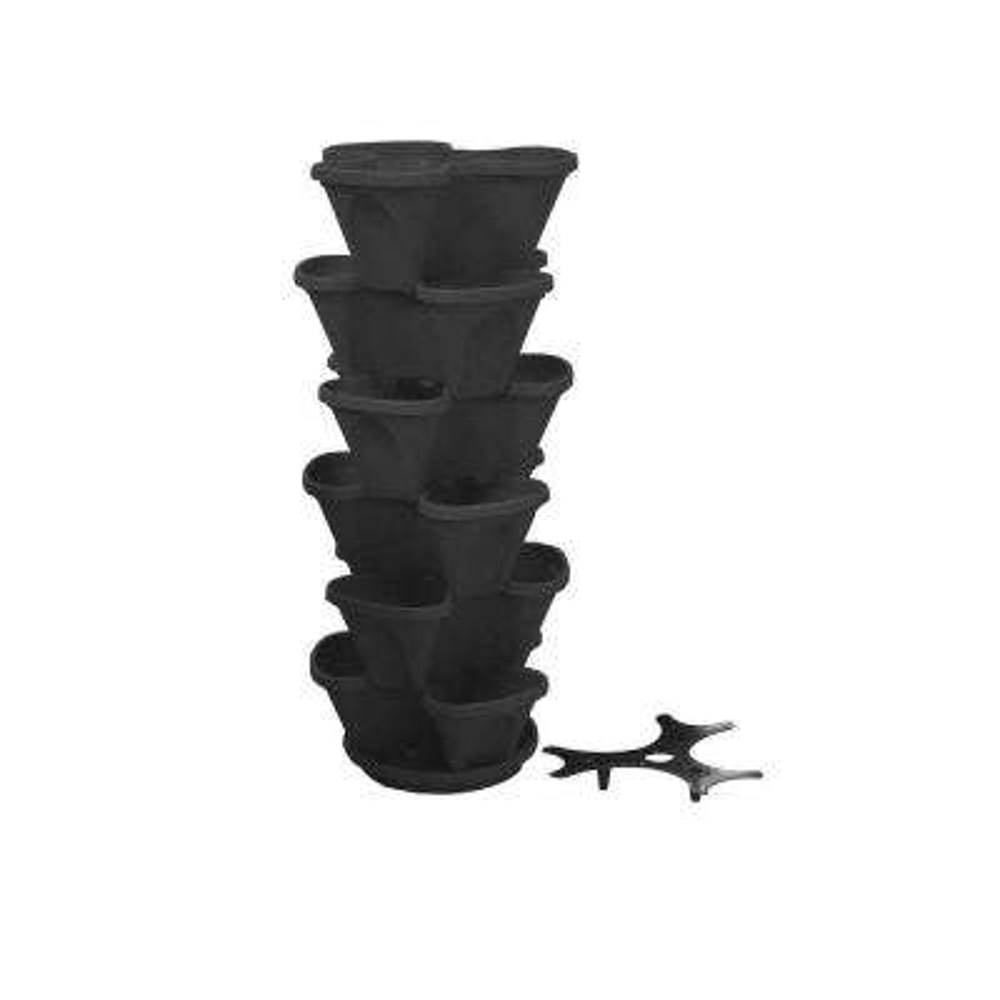 12 in. Self Watering Black Stacking Planter Set (6-Pack)