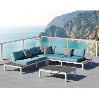 Malibu 4-Piece Aluminum Outdoor Sectional Set with Olefin Blue Cushions