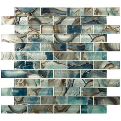 Night Sky Subway 11.81 in. x 11.81 in. x 8mm Textured Glass Mesh-Mounted Mosaic Tile (9.7 sq. ft./Case)