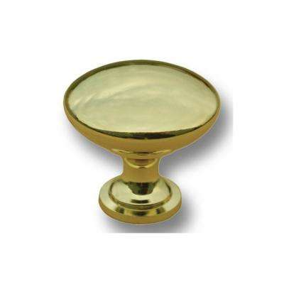 1-1/4 in. Polished Brass Cast Metal Traditional Mushroom Cabinet Knob