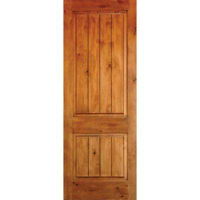 42 in. x 96 in. Rustic Square Top 2 Panel Right-Hand Inswing Unfinished Knotty Alder V-Grooved Wood Prehung Front Door
