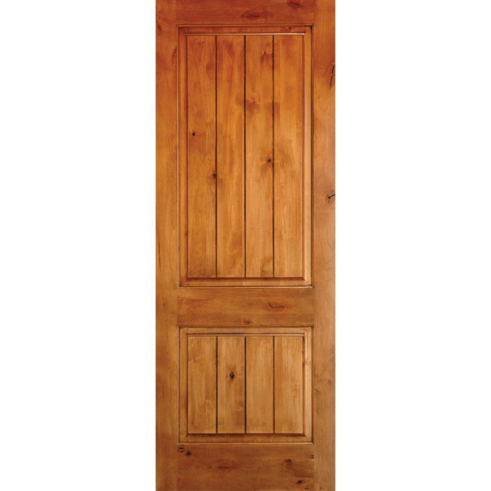 Krosswood doors 36 in x 96 in knotty alder 2 panel square top v groove solid wood right hand for Interior wood doors home depot