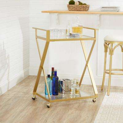 Regina Gold X-Frame 2-Tier Serving Cart