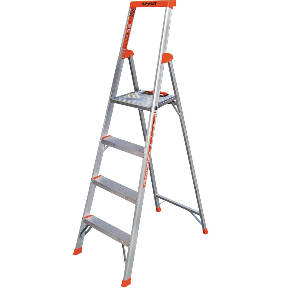 Little Giant Ladder Systems 6 ft. Flip-N-Lite Aluminum Utility Ladder with 300 lb. Load Capacity Type IA Duty Rating