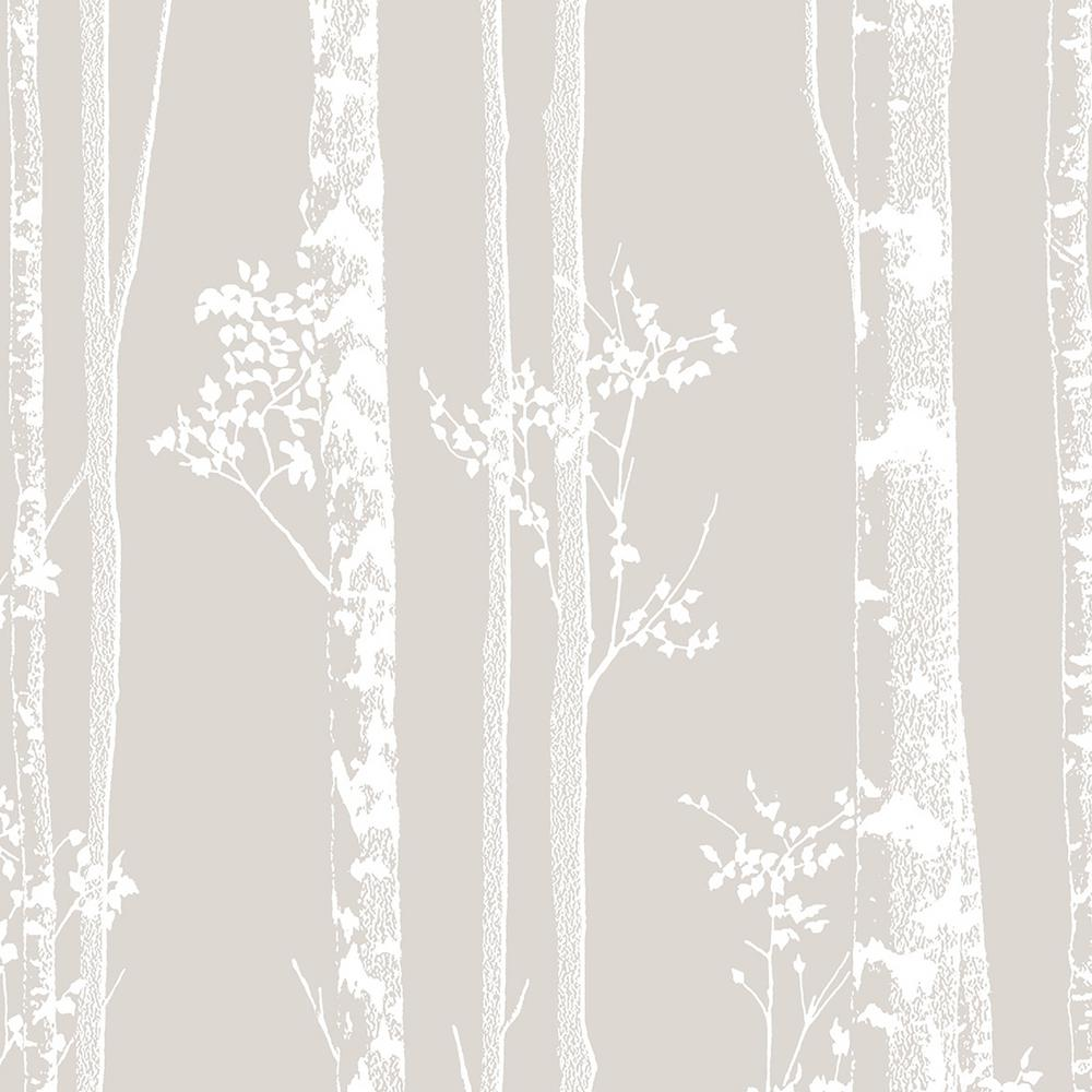 Linden Taupe and White Removable Wallpaper Sample
