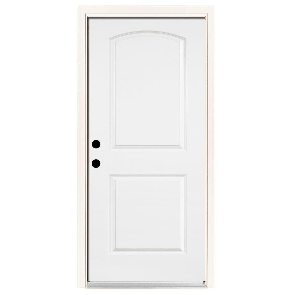 Steves & Sons Premium 2-Panel Rd Top Primed White Steel Prehung Front Door with Brickmold-DISCONTINUED