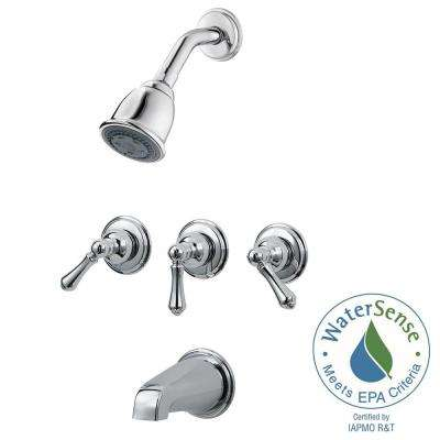 3-Handle Tub and Shower Faucet Trim Kit in Polished Chrome (Valve No Included)