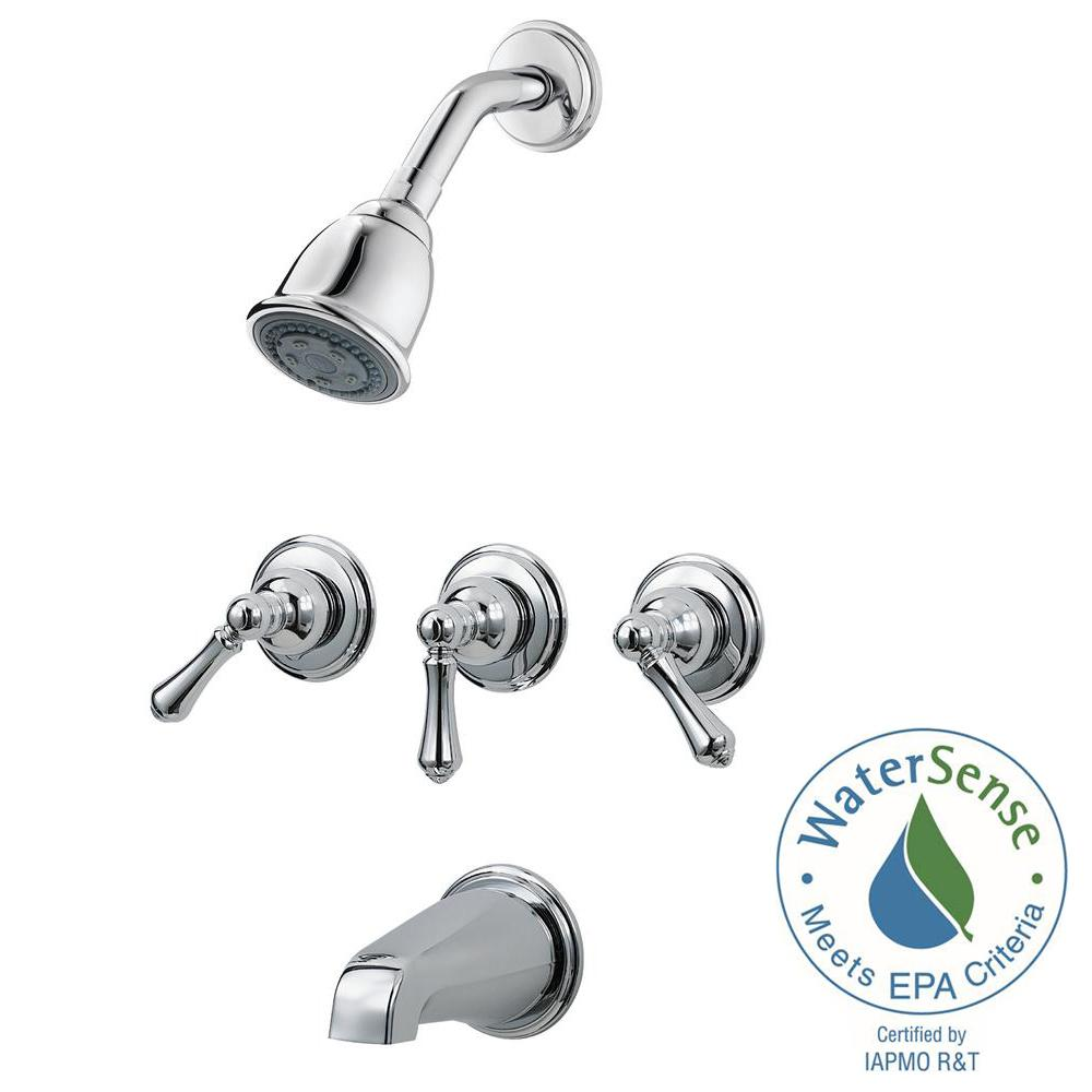 3 Handle Tub And Shower Faucet Trim Kit In Polished Chrome Valve No Included