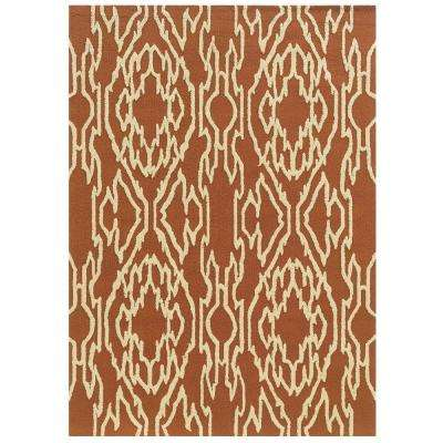 Le Soliel Collection Terracotta and Ivory 2 ft. x 3 ft. Outdoor Area Rug