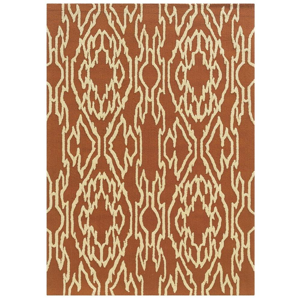 Linon Home Decor Le Soliel Collection Terracotta And Ivory 8 Ft. X 10 Ft.