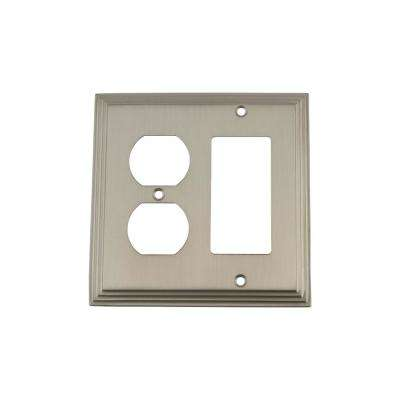 Deco Switch Plate with Rocker and Outlet in Satin Nickel