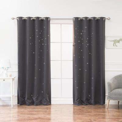 84 in. L Star Cut Out Blackout Curtains in Dark Grey (2-Pack)