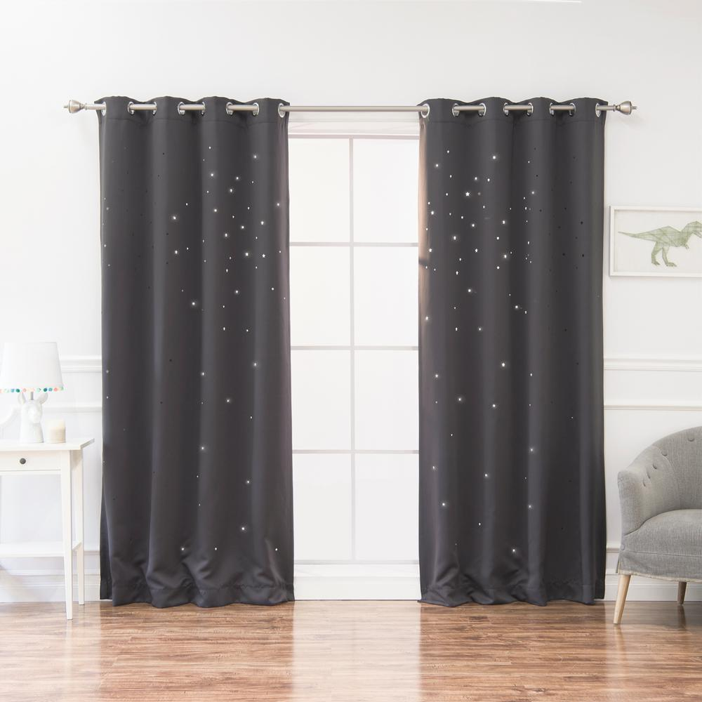 L Star Cut Out Blackout Curtains In Dark Grey