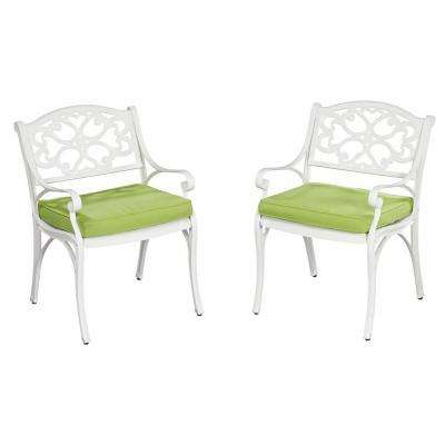 Biscayne White Patio Arm Chair with Cushions - Pair