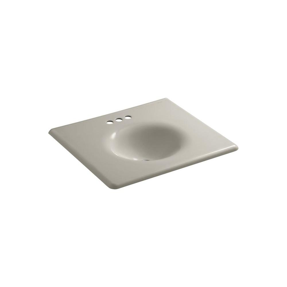 KOHLER Iron/Impressions 25.625 in. W x 22.25 in. D x 6.5 in. H Cast Iron Vanity Top with Basin in Sandbar
