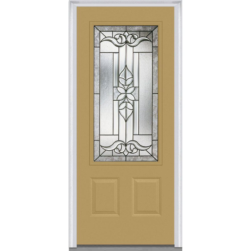 Mmi door 32 in x 80 in cadence right hand 3 4 lite 2 panel classic painted steel prehung front - Painting a steel exterior door model ...