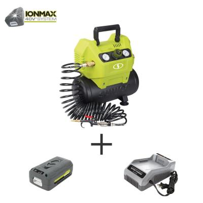 40-Volt 1.6 Gal. Cordless Hotdog Air Compressor Portable Inflator Kit with 4.0 Ah Battery + Charger