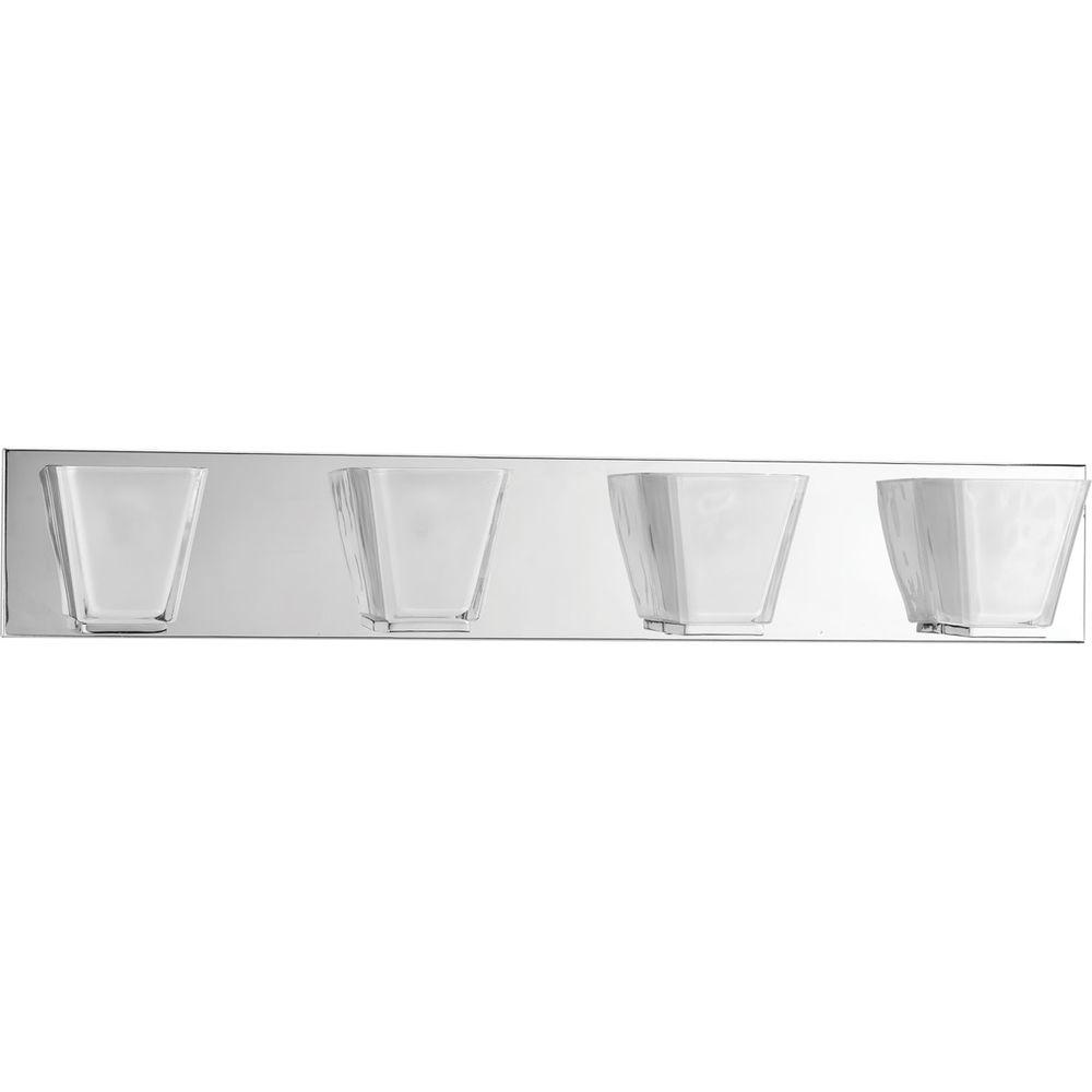 Progress Lighting Streaming Collection 4-Light Polished Chrome Bathroom Vanity Light with Glass Shades