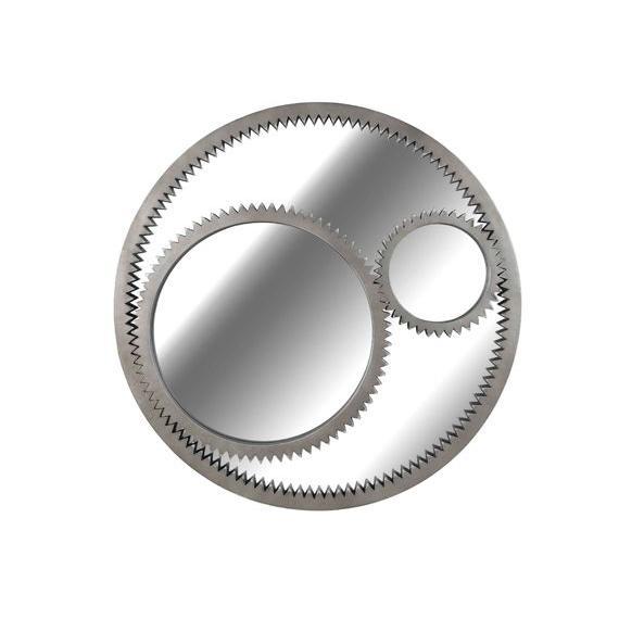 Home Decorators Collection Gear 34 in. Round Polyurethane Framed Mirror