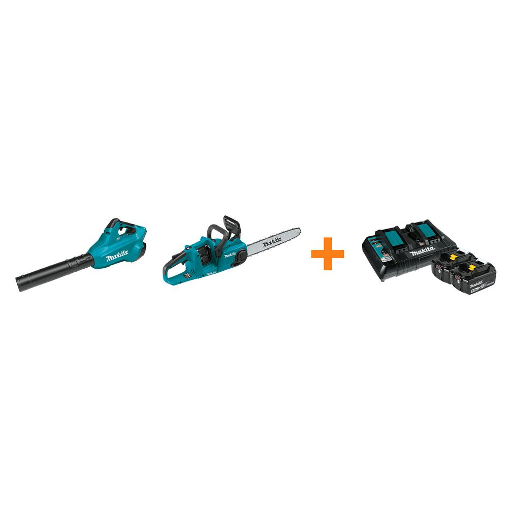 Makita 18V X2 LXT Blower and 18V X2 LXT 16 in. Chain Saw with bonus 18V LXT Starter Pack was $797.0 now $518.0 (35.0% off)