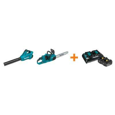 18V X2 LXT Blower and 18V X2 LXT 16 in. Chain Saw with bonus 18V LXT Starter Pack