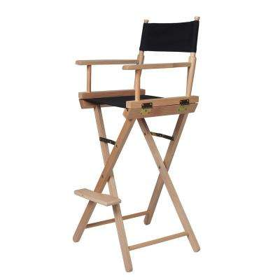 24 In. Black Light Wood Bar H 8 Directoru0027s Chair