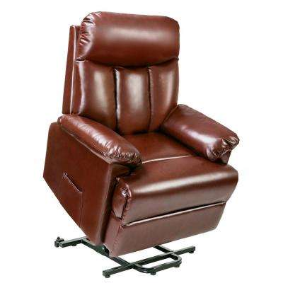 Brown PU Leather Recliner Power Lift Chair