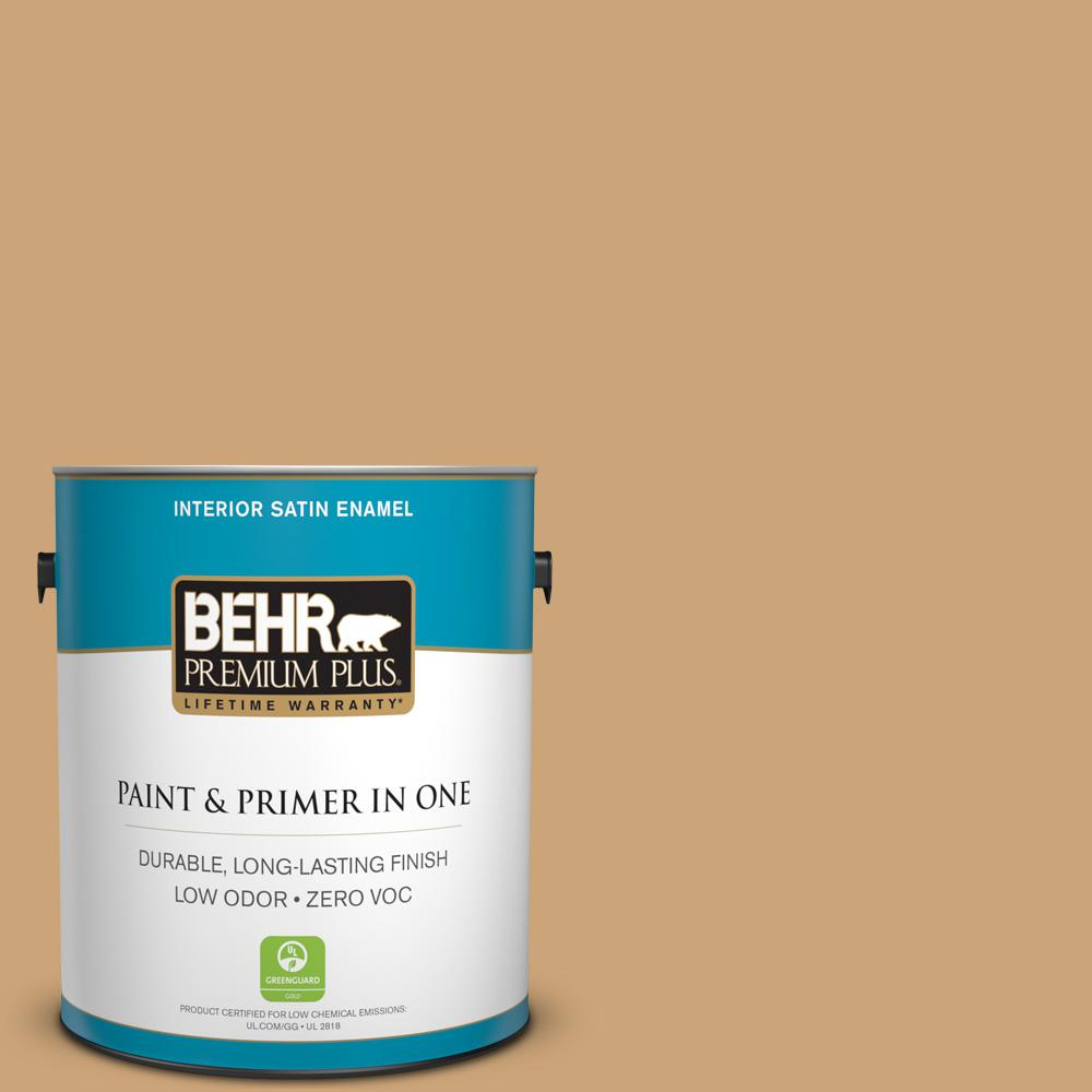 BEHR Premium Plus Home Decorators Collection 1-gal. #HDC-AC-13 Butter Nut Zero VOC Satin Enamel Interior Paint