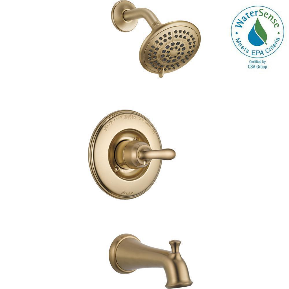 Delta Linden 1-Handle 1-Spray Tub and Shower Faucet Trim Kit in Champagne Bronze (Valve Not Included)