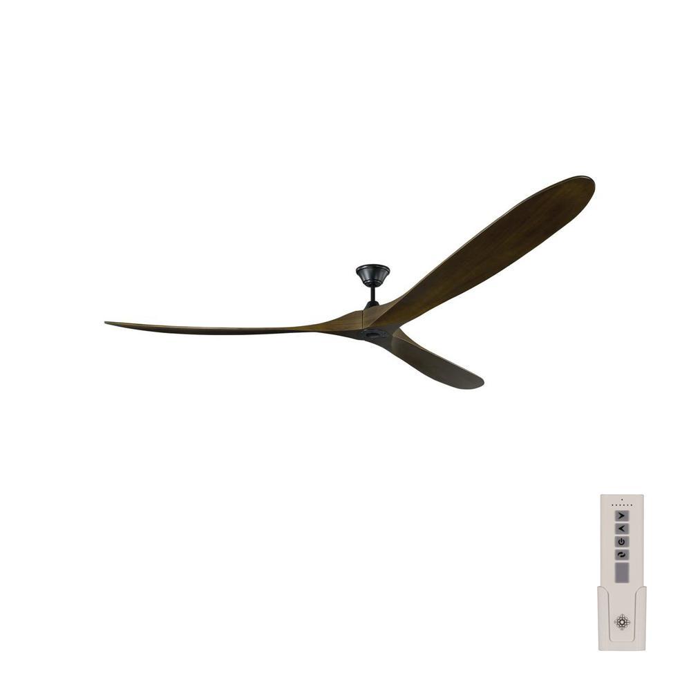 Monte Carlo Maverick Grand 99 in. Indoor/Outdoor Matte Black Ceiling Fan with Dark Walnut Blades