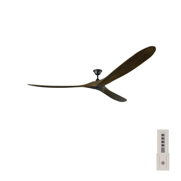 Maverick Grand 99 in. Indoor/Outdoor Matte Black Ceiling Fan with Dark Walnut Balsa Blades, DC Motor and Remote Control