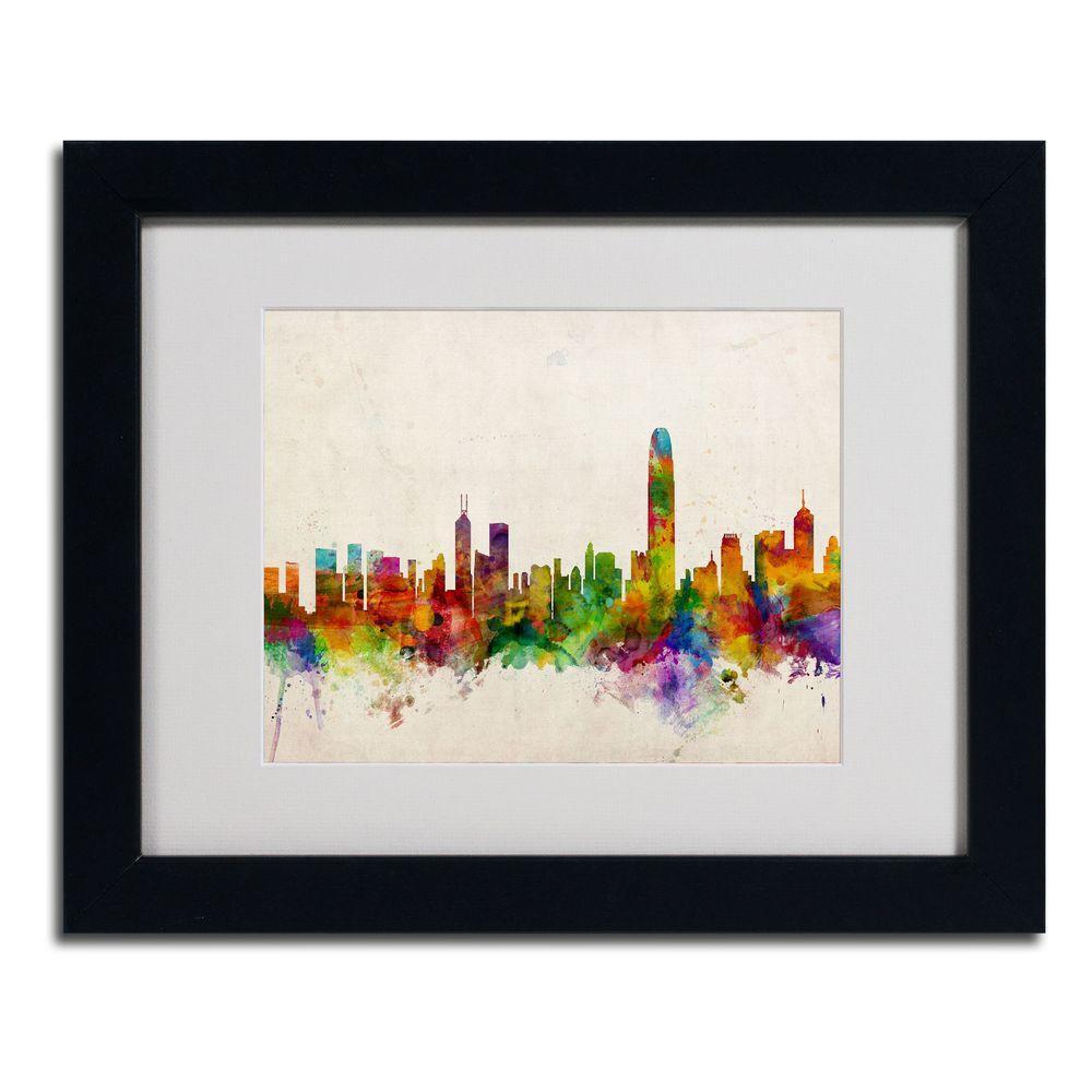 11 in. x 14 in. Hong Kong Skyline Matted Framed Art